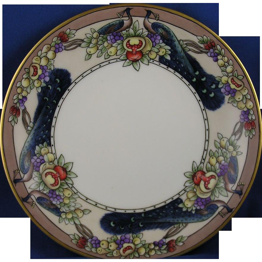 """T&V Limoges Arts & Crafts Fruit & Peacocks Motif Plate (Signed """"A. Goltz Bryant""""/c.1892-1907)"""