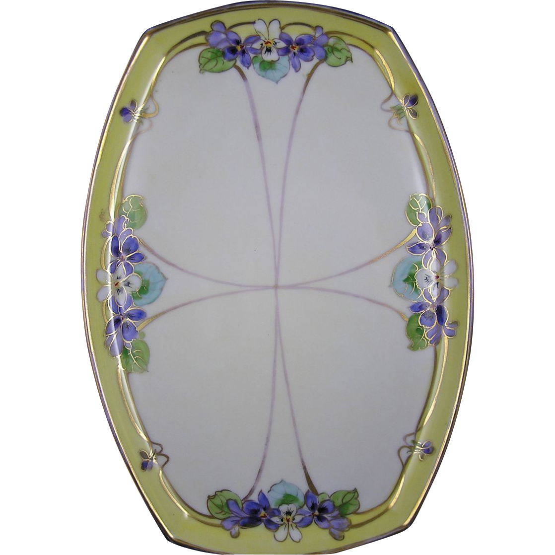 "Julius Brauer Studios Violet Motif Tray (Signed ""MB"" for Max Bachmann/c.1910-1916)"