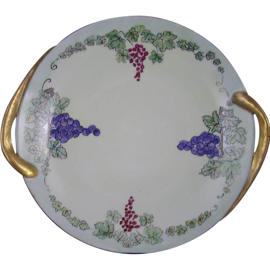 "Fraureuth Germany Arts & Crafts Grape Motif Handled Plate (Signed ""I.A.L.""/Dated 1926)"