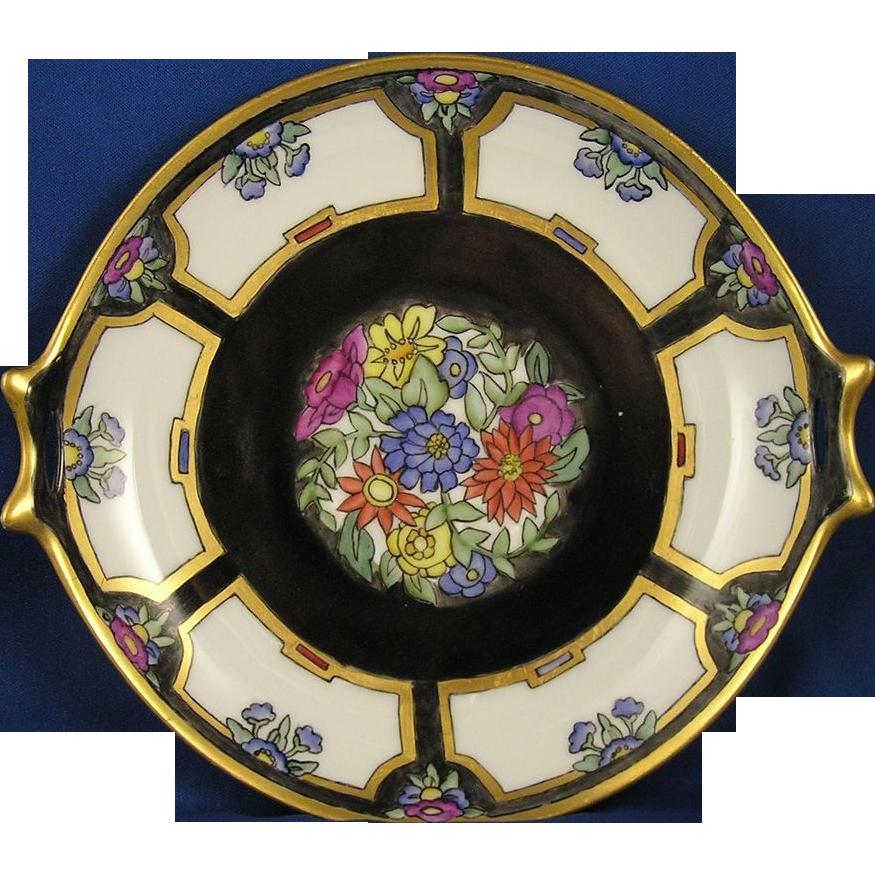 "Hutschenreuther Selb Bavaria Art Deco Floral Design Handled Plate (Signed ""E.L.""/c.1910-1940)"
