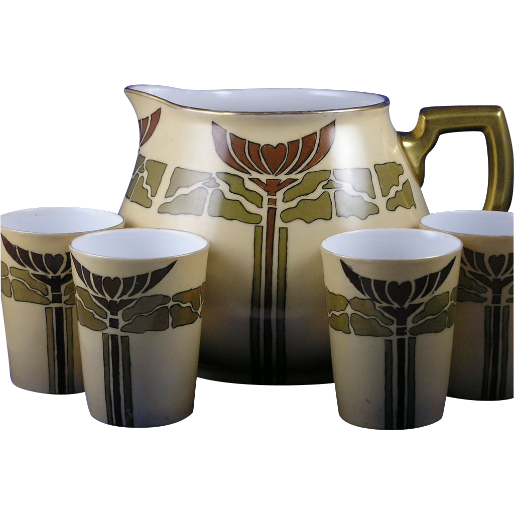 "William Guerin (WG & Co.) Limoges Mission/Arts & Crafts Cider/Lemonade Pitcher & Cups Set (Signed ""Euliah Biggs""/Dated 1912)"