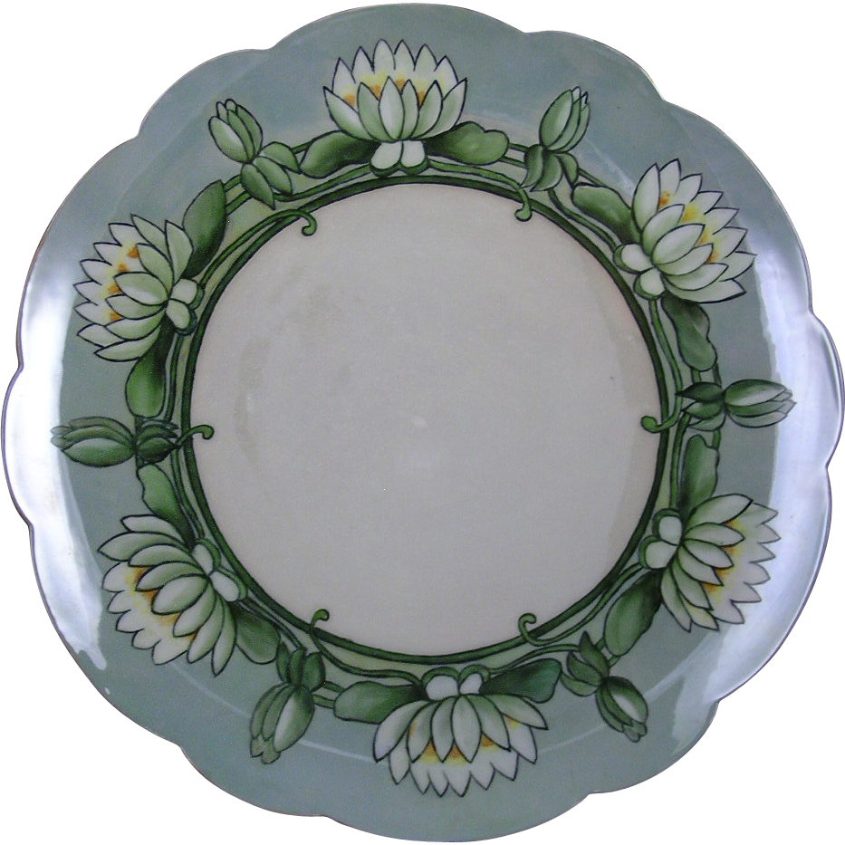 "Limoges Mark 6 Arts & Crafts Lotus Blossom Design Charger (Signed ""Mrs. Eagan""/c.1901-1930)"
