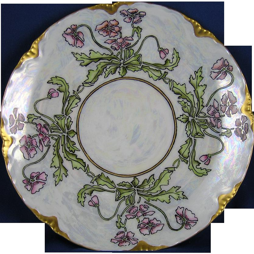 """Oscar & Edgar Gutherz (O&EG) Austria Arts & Crafts Floral Lustre Plate (Signed """"L. Plue""""/c.1899-1918)"""