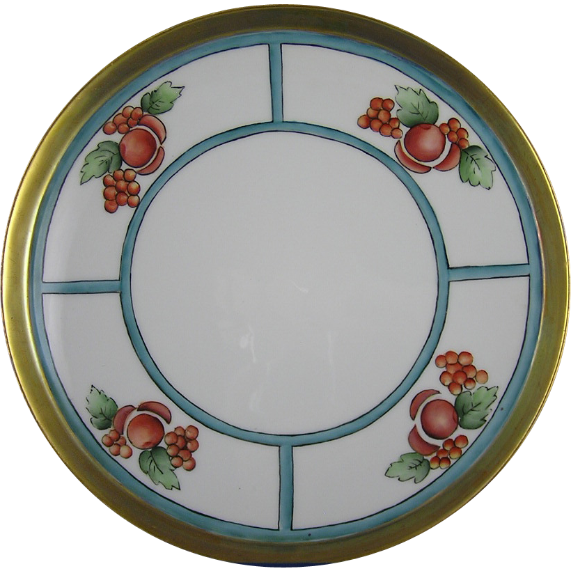 T&V Limoges Arts & Crafts Fruit Motif Plate/Tray (c.1892-1907)