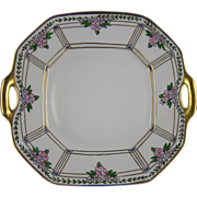 "Delinieres & Co. (D&Co.) Limoges Pickard Studios Enameled Floral Design Handled Tray/Plate (Signed ""Wight""/c.1905-1910)"