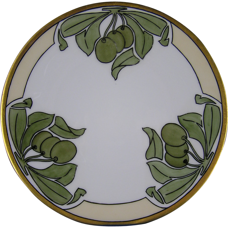 Favorite Bavaria Arts & Crafts Olive Design Plate (Signed/c.1910-1930)