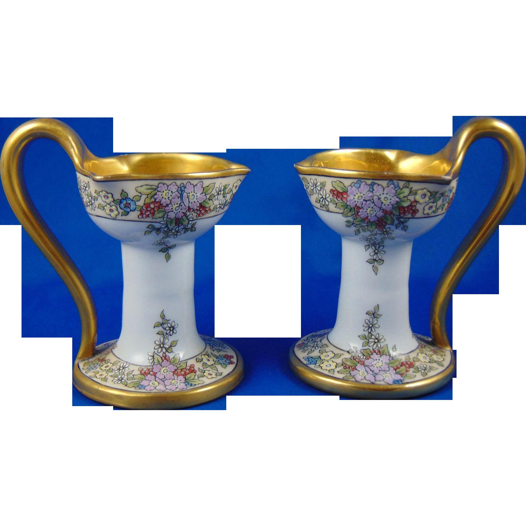 "PH Leonard Austria Arts & Crafts Enameled Floral Design Candlestick/Candle Holder Pair (Signed ""S. Mayo Davenport""/c.1912-1920) - Keramic Studio Design"