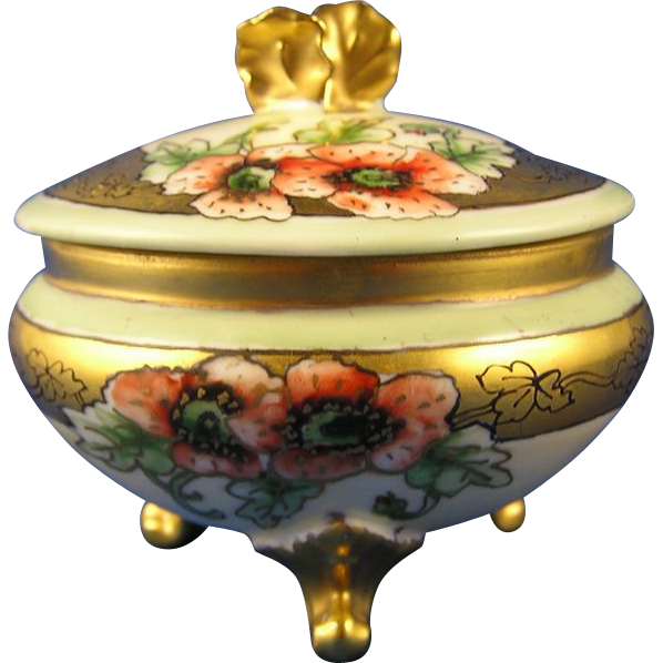 Gerard, Duffraisseix & Abbott (GDA) Limoges Poppy Design Covered Trinket Dish/Dresser Jar (c. 1900-1941)