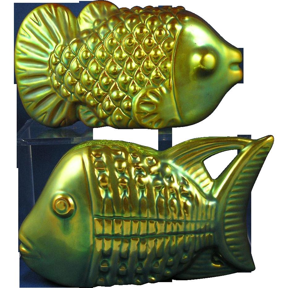 zsolnay hungary art deco fish figurine pair c19251940