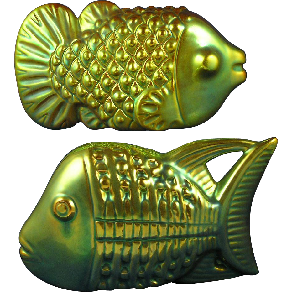Zsolnay Hungary Art Deco Fish Figurine Pair (c.1925-1940)