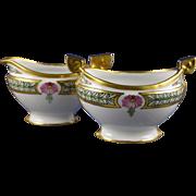 Pfeifer & Lowenstein (P&L) Imperial Austria Floral Motif Creamer & Sugar Set (Signed/Dated 1914)