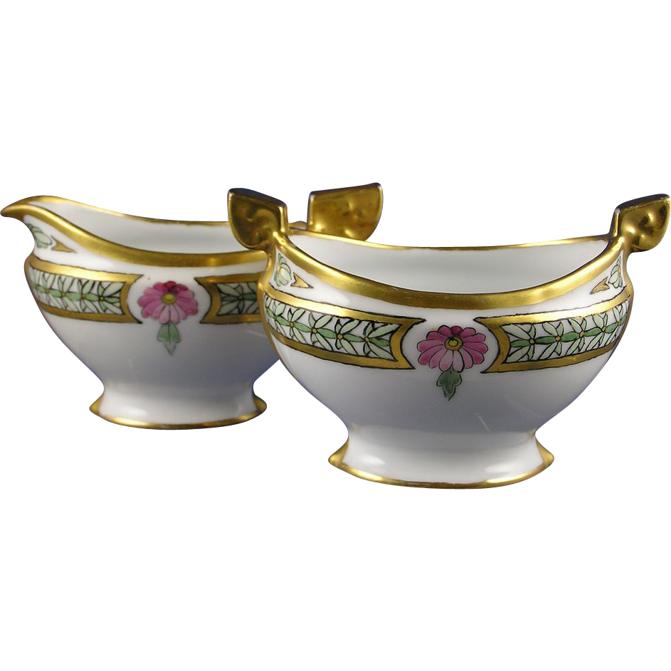 Pfeifer & Lowenstein (P&L) Imperial Austria Floral Motif Creamer & Sugar Set (Signed/Dated 1914)