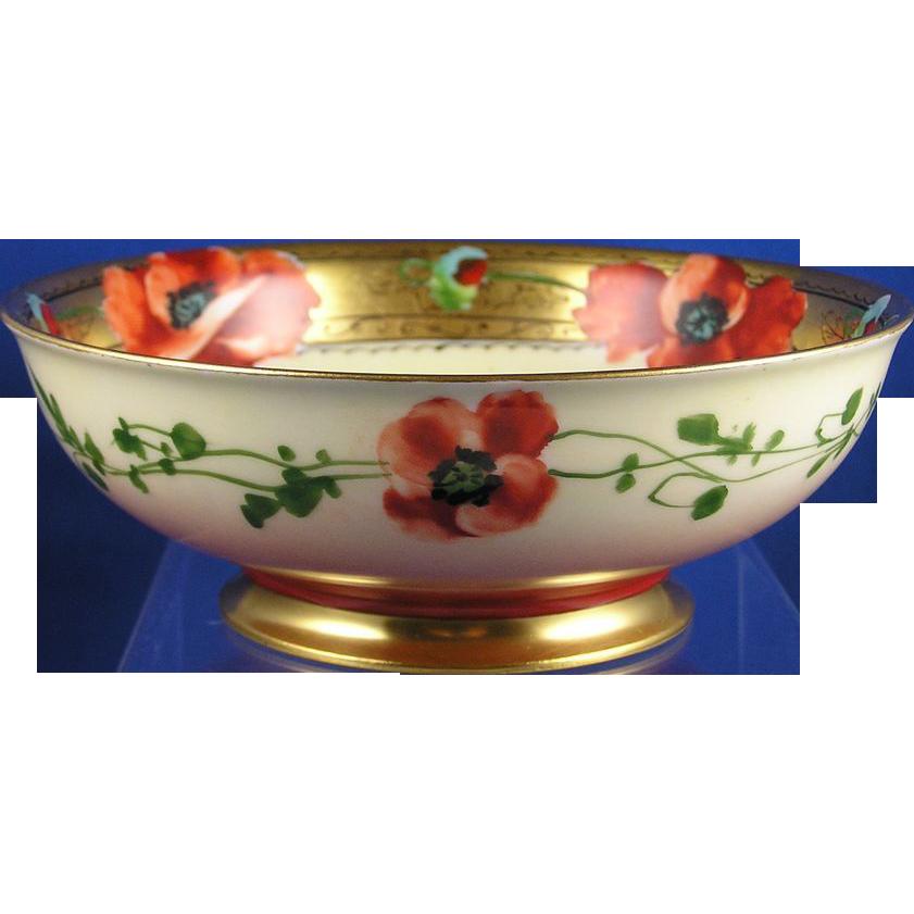 "Charles Ahrenfeldt (CA) Limoges Pickard Studios Poppy Bowl (Signed ""H.M."" for Harry Michel/c.1903-1905)"