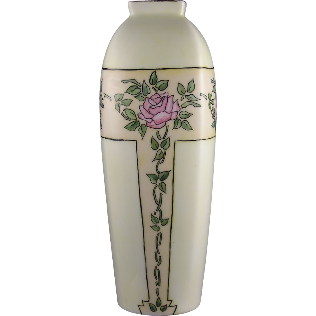 Fisher & Mieg Pirkenhammer Austria Arts & Crafts Rose Motif Vase (c.1900-1918)