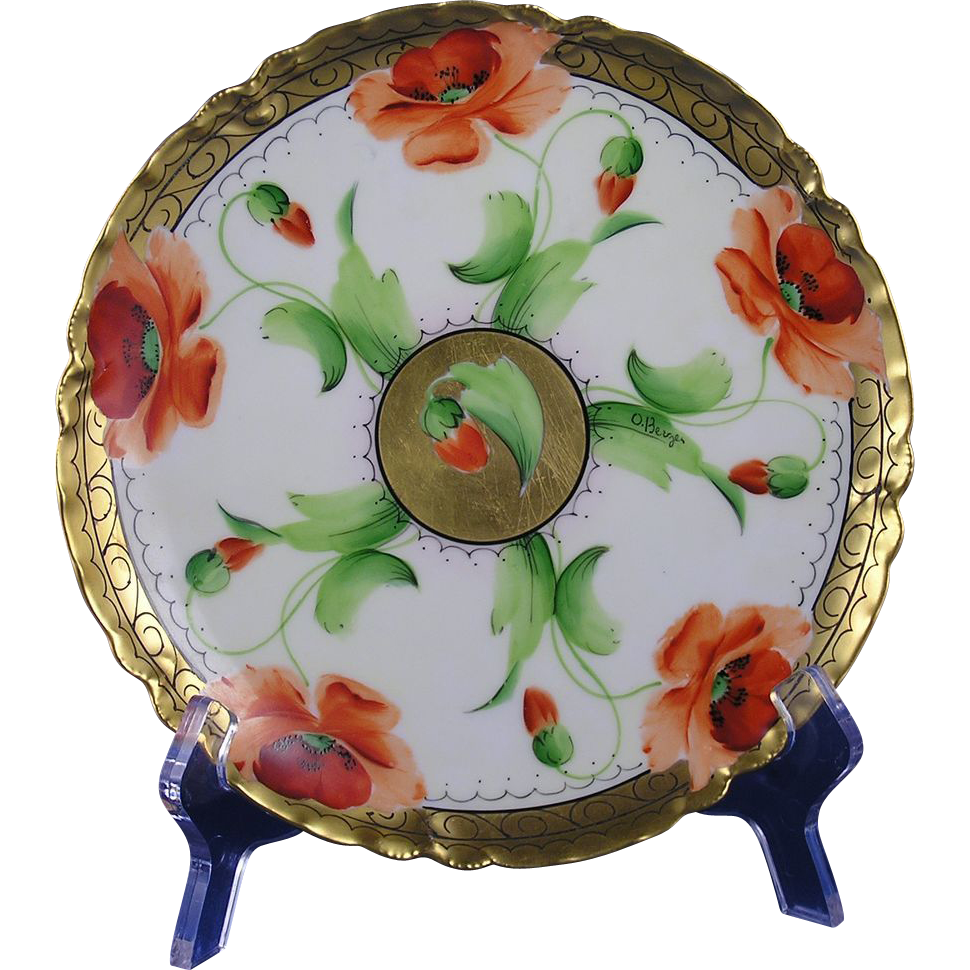 "Haviland Limoges Poppy Design Plate (Signed ""O. Berger""/c.1905-1931)"