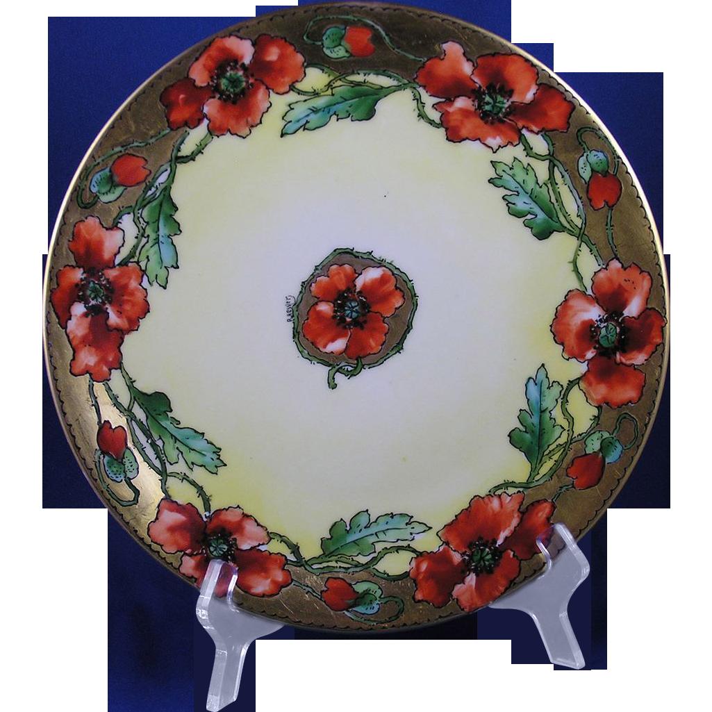 """T&V Limoges Pickard Studios LaSalle Street Studio Mark Poppy Design Plate (Signed """"R. Hessler""""/c.1898-1903)"""