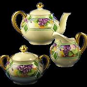 """Bavaria Arts & Crafts Violet Design Teapot, Creamer & Sugar Set (Signed """"E. Maret""""/Dated 1927)"""