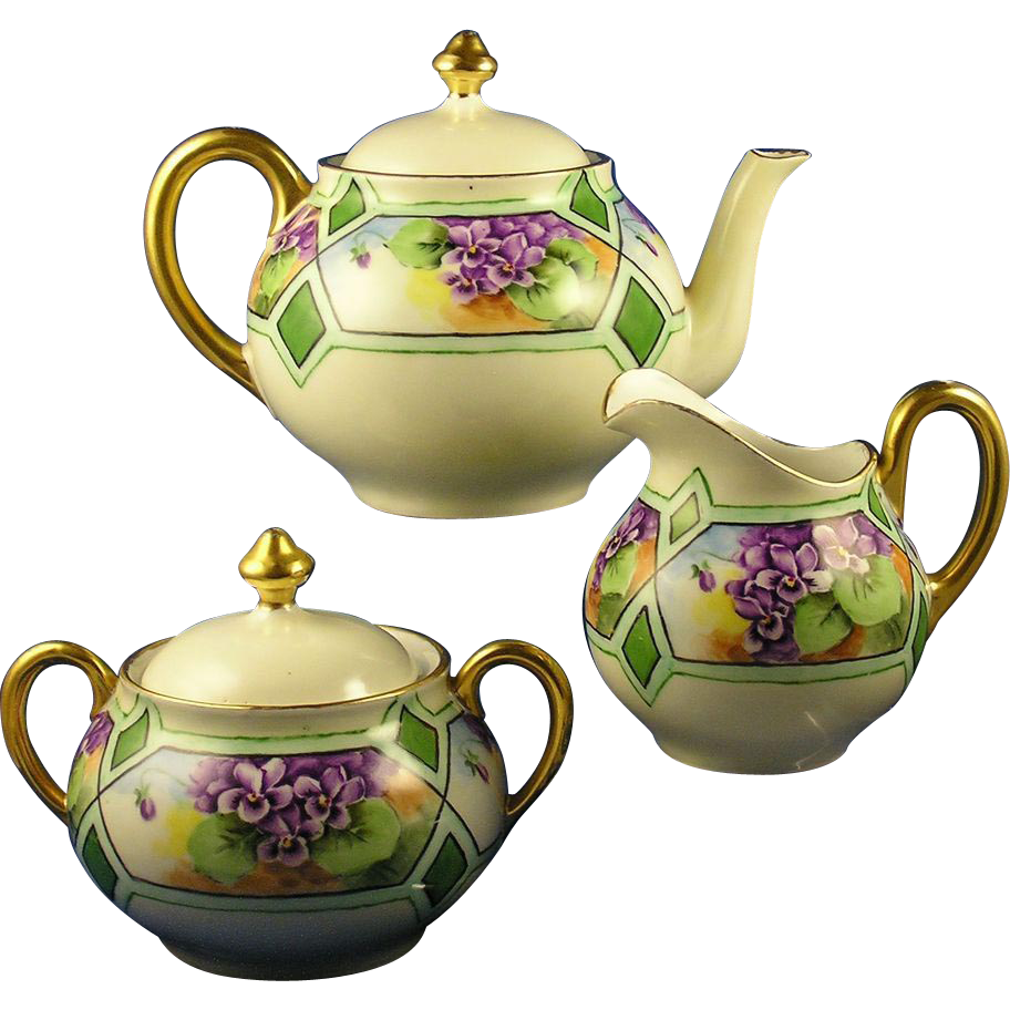 "Bavaria Arts & Crafts Violet Design Teapot, Creamer & Sugar Set (Signed ""E. Maret""/Dated 1927)"