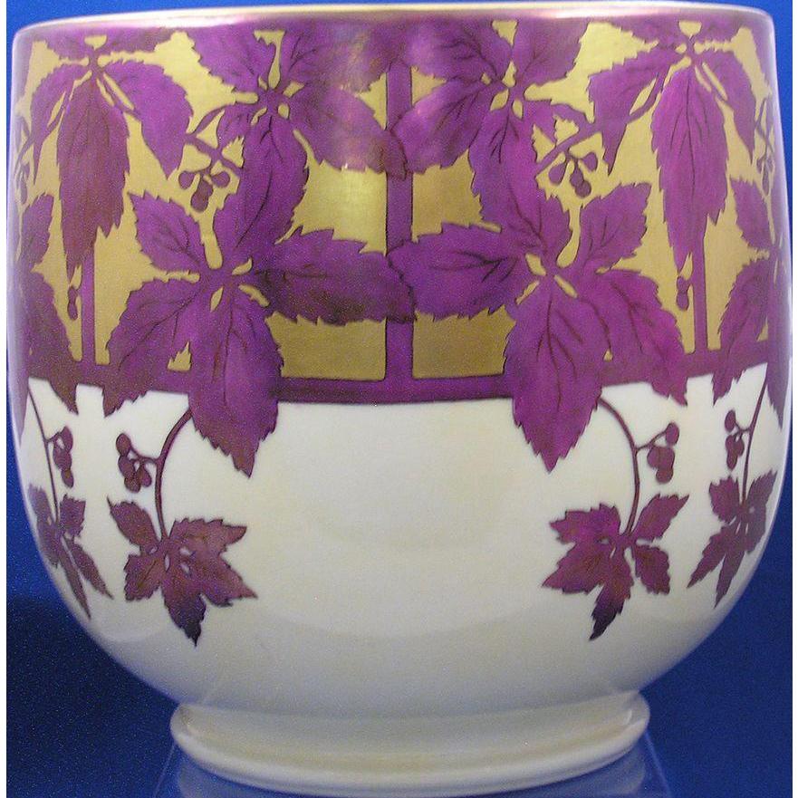 """William Guerin & Co. (WG&Co.) Limoges Arts & Crafts Vine & Berry Motif Jardinière/Vase (Signed """"B.E. Hooker""""/Dated 1915)"""