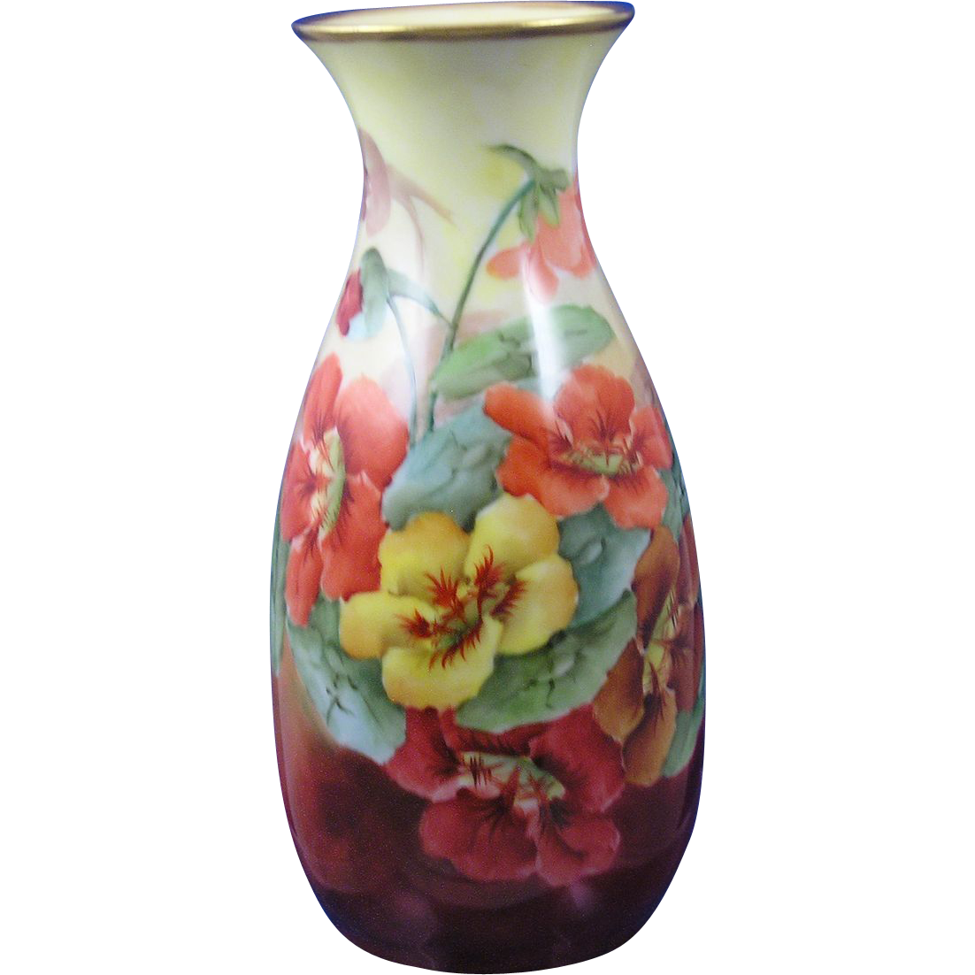 "Zeh, Scherzer & Co. (ZS&Co.) Bavaria Nasturtium Motif Vase (Signed ""E.S.W.""/c.1880-1920)"