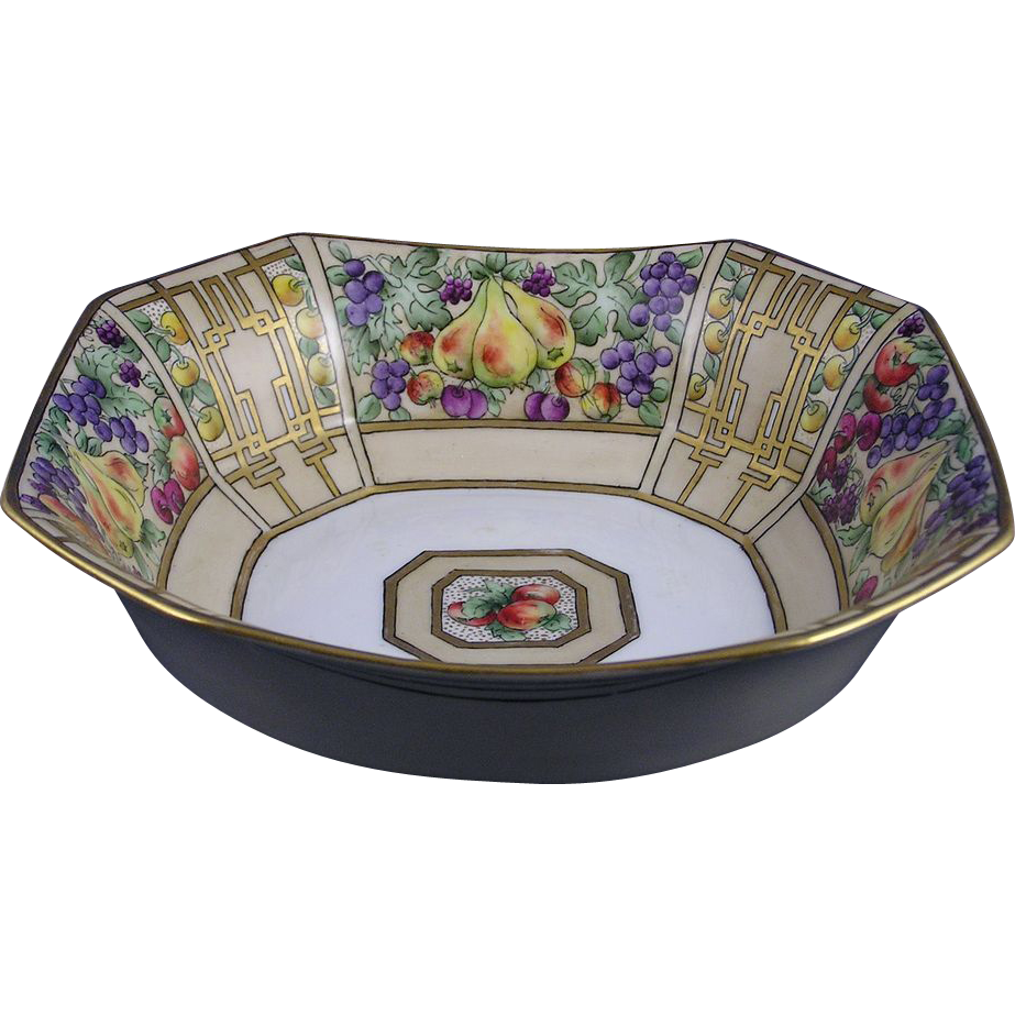 Delinieres & Co. (D&Co.) Limoges Art Deco Fruit Motif Centerpiece Bowl (Signed/c.1894-1900)
