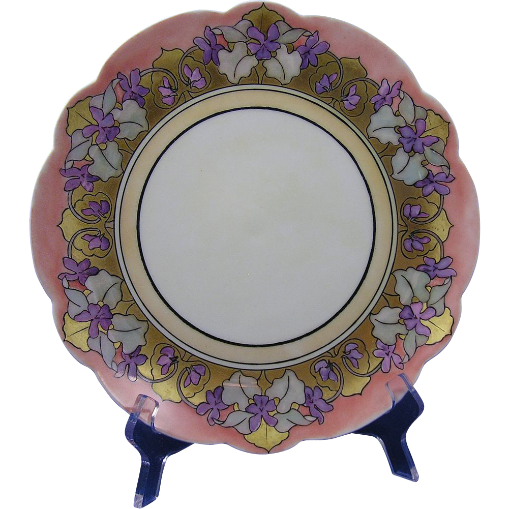 "Limoges 'Mark 6' Arts & Crafts Violet Motif Plate (Signed ""M.F. Clemens""/c.1891-1920)"