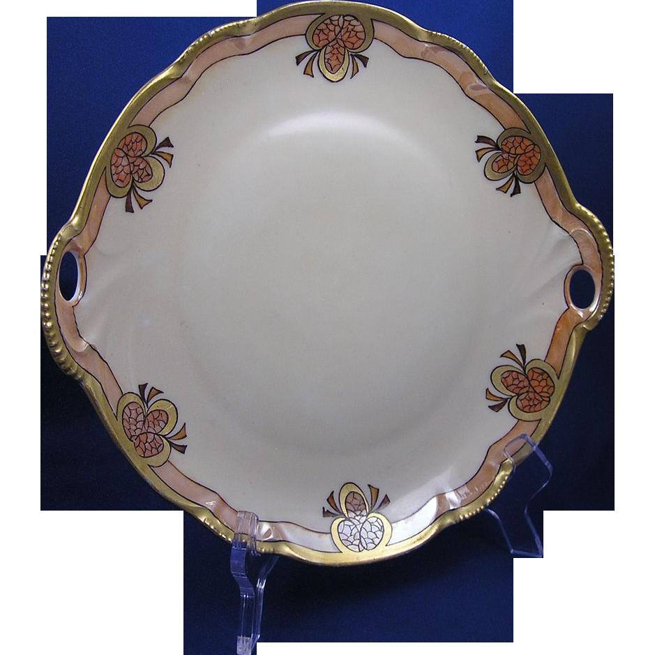 "Hutschenreuther Bavaria Arts & Crafts Pinecone Design Handled Plate (Signed ""J. Dorris""/c.1900-1920)"