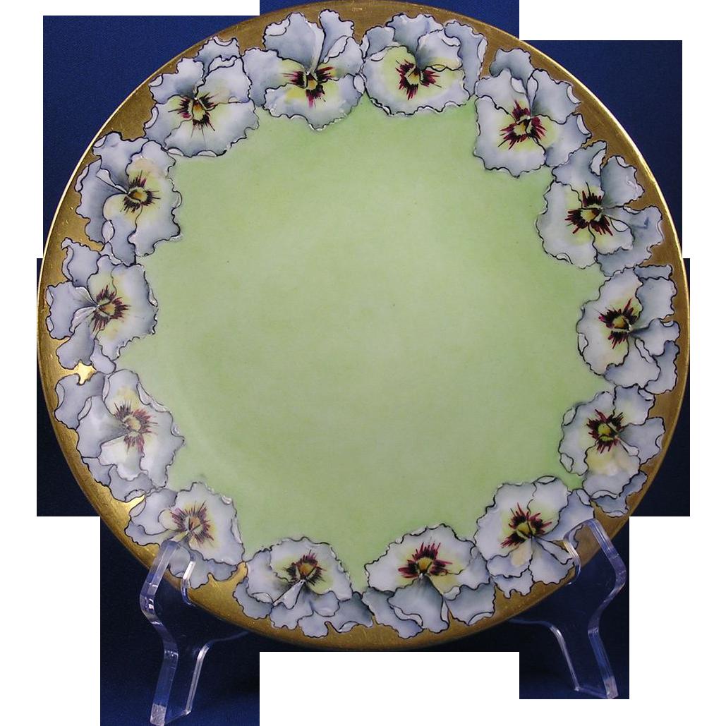 "Bawo & Dotter Elite Works Limoges White Pansy Motif Plate (Signed ""E.T.K.""/c.1900-1914)"