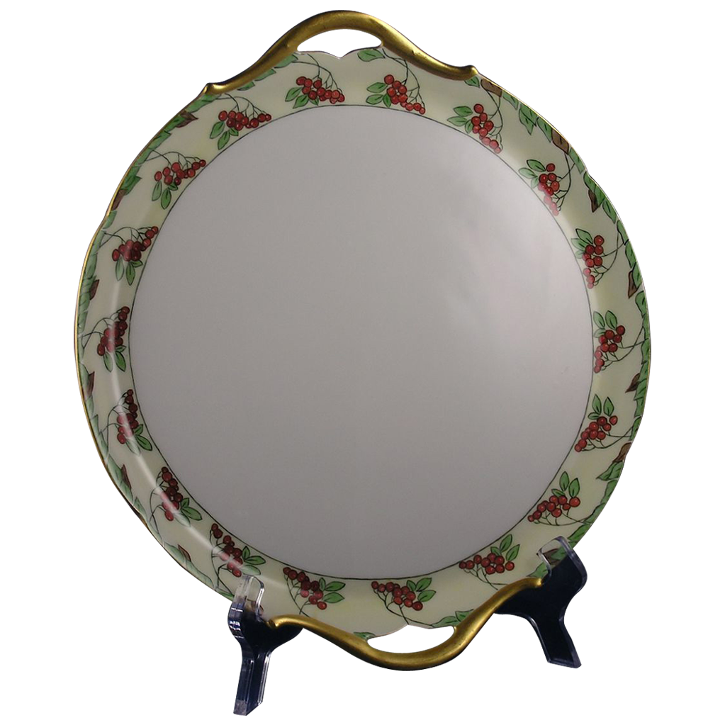 "Paratoud Freres (P&P) Limoges Arts & Crafts Berry Motif Handled Plate (Signed ""V.C.N.""/Dated 1914)"
