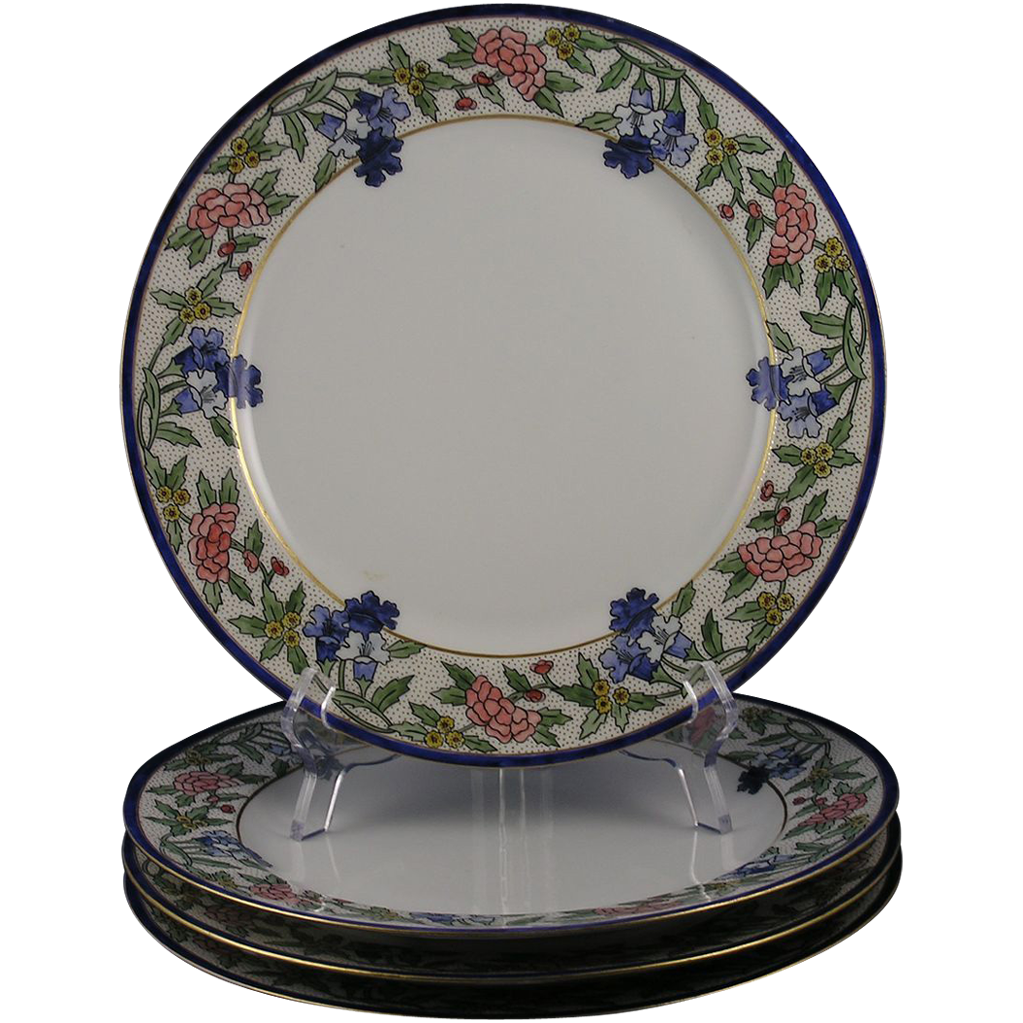 "Haviland Limoges Arts & Crafts Floral Dinner Plates - Qty 4 (Signed ""H.F.D.""/Dated 1911)"