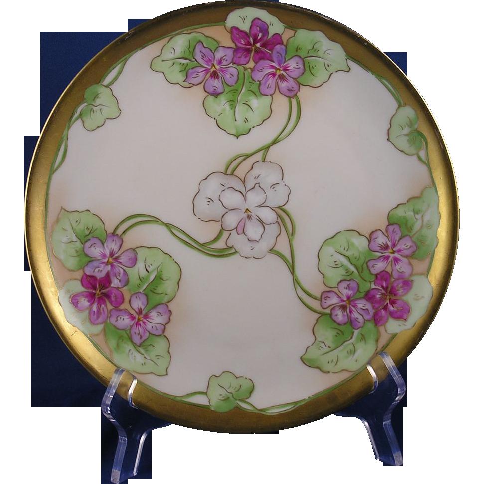 Limoges Mark 6 Art Nouveau Violet Motif Plate (c.1891-1930)