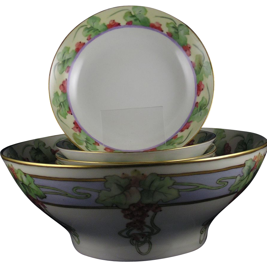 "Haviland Limoges & GDA Limoges Currant Motif Centerpiece Bowl & Berry Bowl Set (Signed ""F. Harris""/c.1900-1931)"