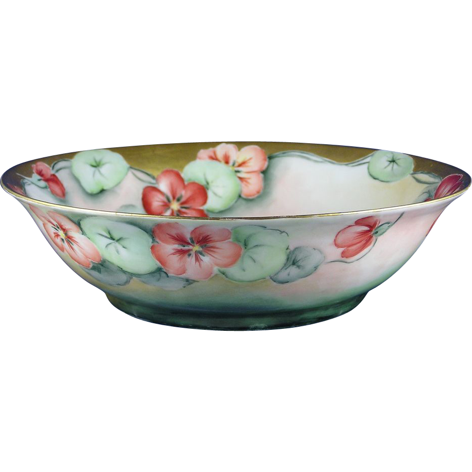 "Krister Porcelain Manufactory (KPM) Germany Arts & Crafts Nasturtium Motif Bowl (Signed ""E. Weber""/c.1904-1927)"