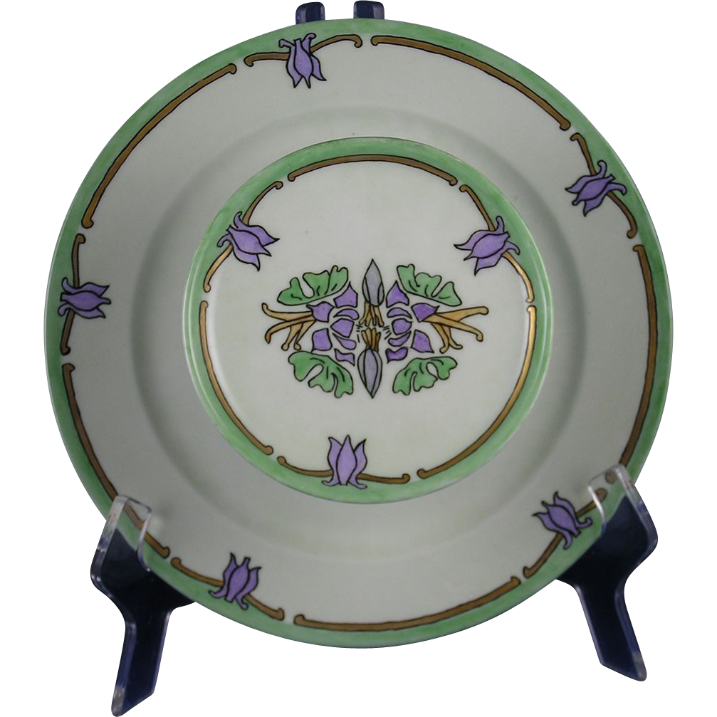 "Porcelain Limousine (PL) Limoges Arts & Crafts Floral Motif Tiered Caviar Serving Plate/Dish (Signed ""RL""/Dated 1915)"