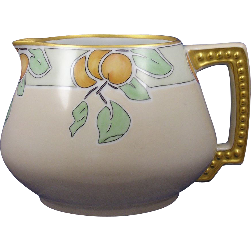 "Jaeger & Co. (J&Co.) Bavaria Arts & Crafts Citrus Motif Pitcher (Signed ""Doris Jenson""/c.1910-1930)"