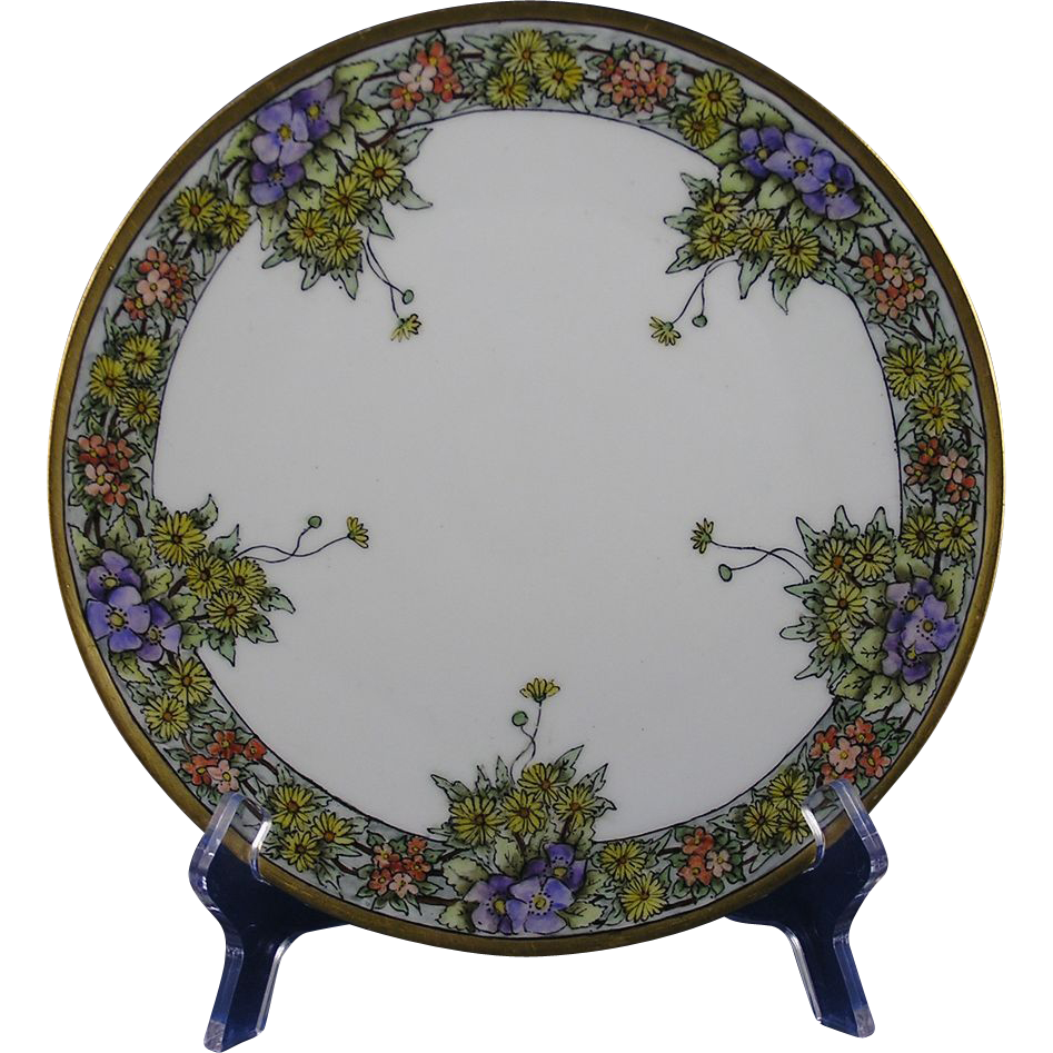 Jaeger & Co. (JC) Bavaria Arts & Crafts Floral Motif Plate (c.1902-1930)