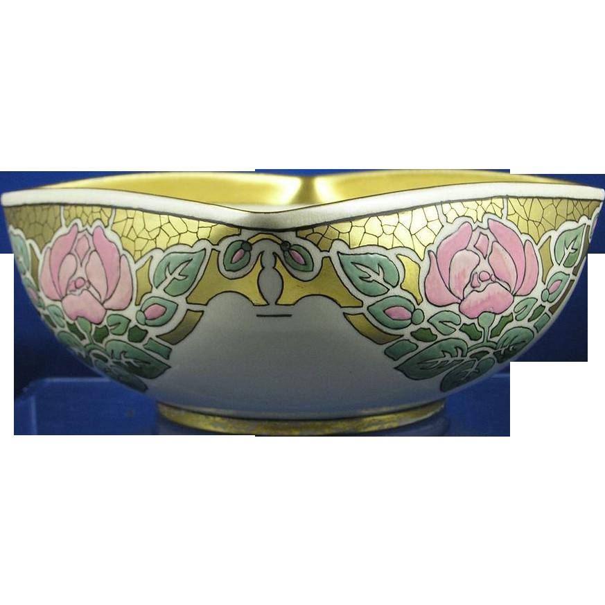 "American Satsuma Arts & Crafts Rose Motif Bowl (Signed ""M. Held""/Dated 1918)"