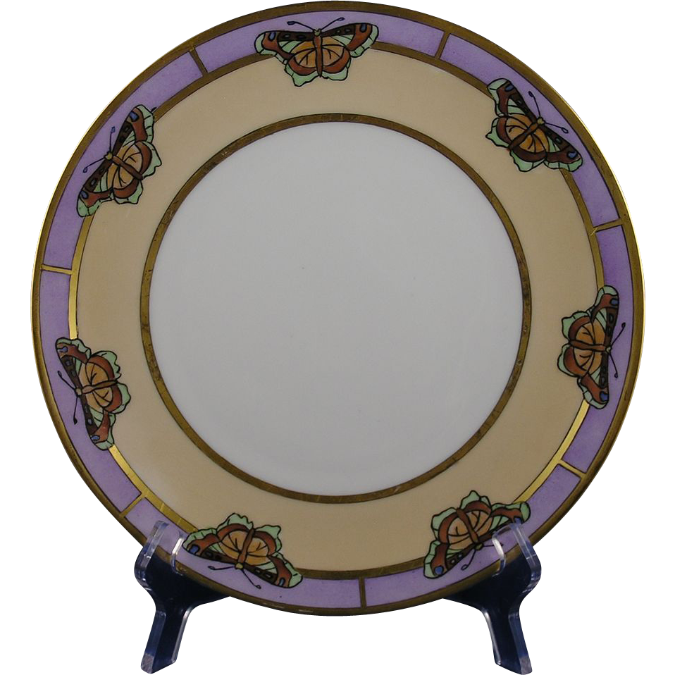 "Favorite Bavaria Arts & Crafts Butterfly Motif Plate (Signed ""Irene Hoffmann""/c.1910-1930)"
