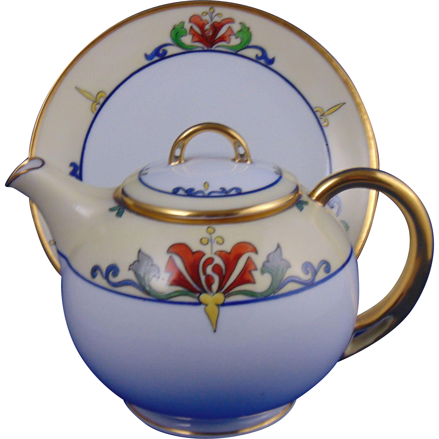 HC Royal Bavaria/Pirkenhammer Julius Brauer Studio Arts & Crafts Teapot/Syrup Pitcher & Plate (c.1914-1923)