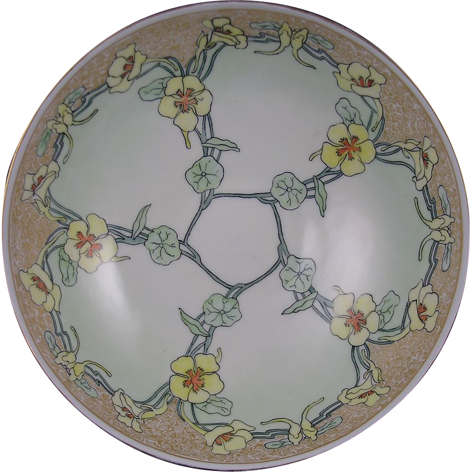Haviland Limoges Arts & Crafts Nasturtium Motif Pedestal Centerpiece Bowl (c.1902-1931) - Keramic Studio Design