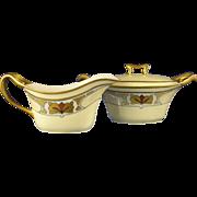 "Porcelain Limousine (PL) Limoges Art Deco Creamer & Sugar Set (Signed ""H. Jones""/c.1905-1930)"