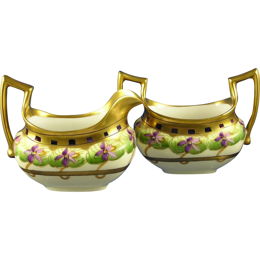 "Pickard Studio ""Violet Border"" Design Creamer & Sugar Set (Signed ""Wag."" for Albert H. Wagner/c.1912-1918)"