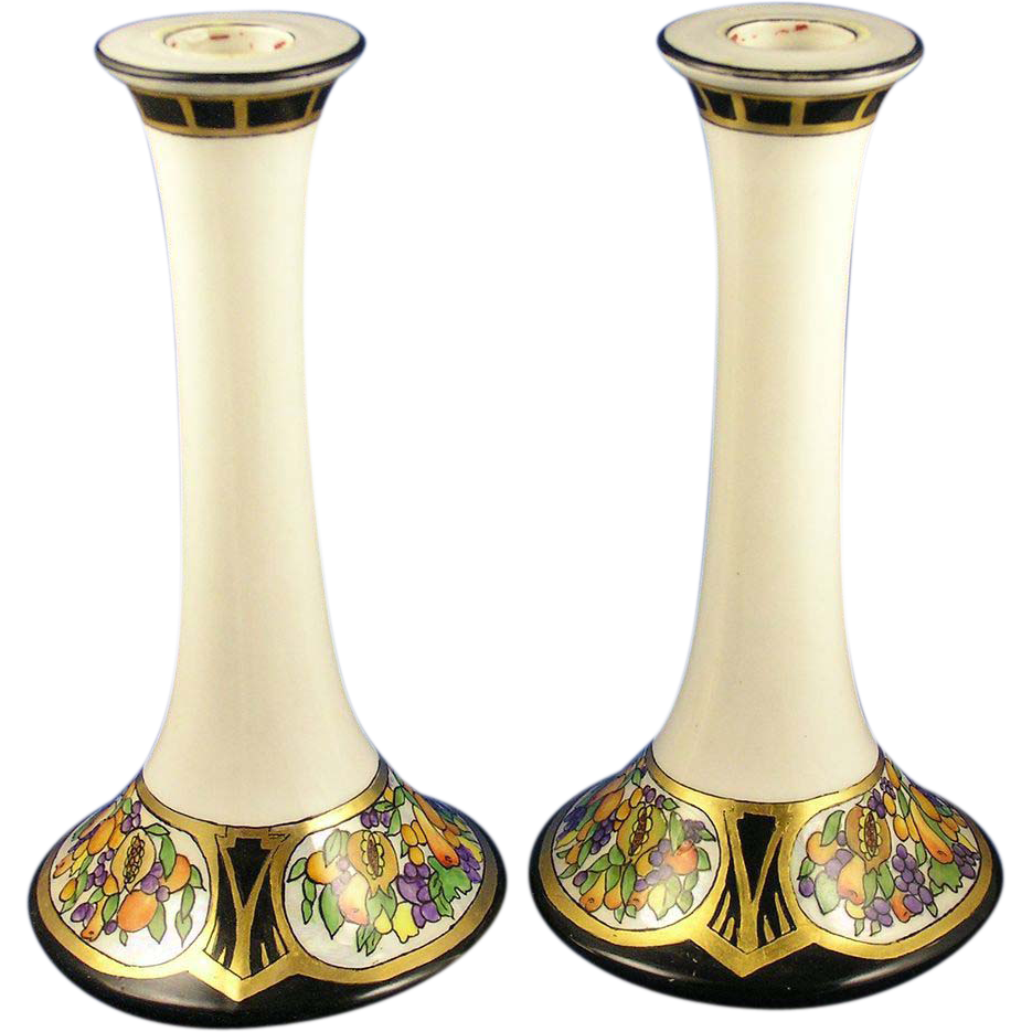 Tressemann & Vogt (T&V) Limoges Arts & Crafts Fruit Motif Candlesticks (c.1892-1907)