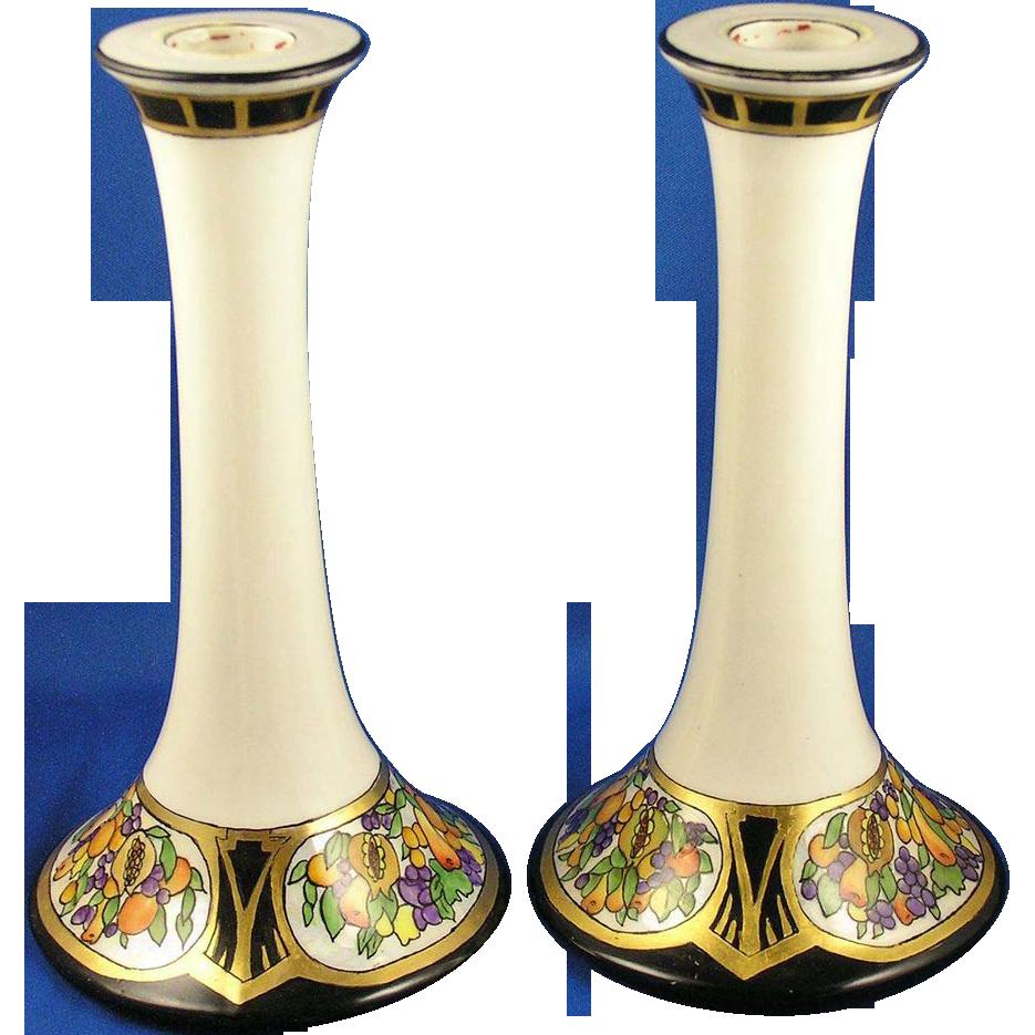 Tressemann & Vogt (T&V) Limoges Arts & Crafts Fruit Motif Candlesticks (c.1892-1907)