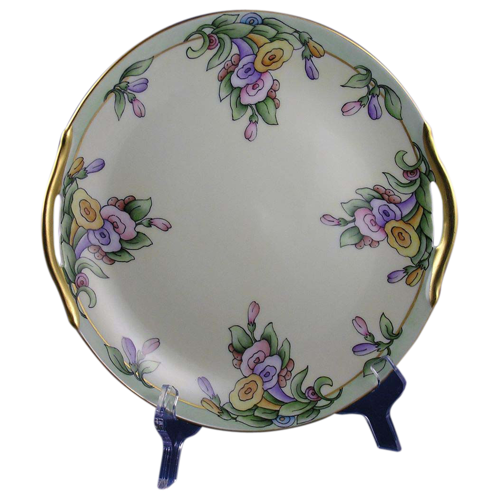 "Porcelain Blank Arts & Crafts Floral Motif Handled Plate (Signed ""Skiff""/1920-1940)"
