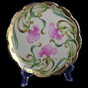 "Haviland Limoges Haviland Decorating Company Carnation Design Plate (Signed by Stouffer Studios Artist ""A. Piron""/c.1894-1931)"