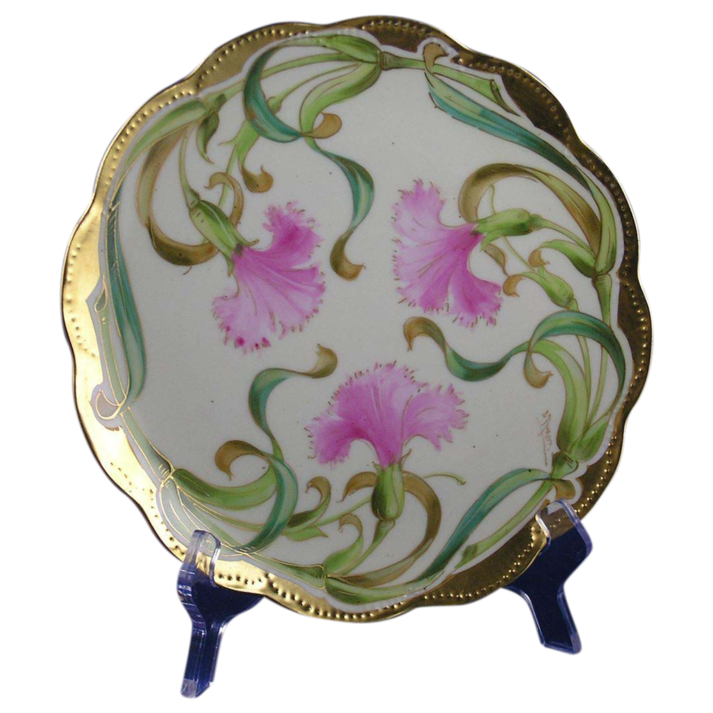 "Haviland Limoges Haviland Decorating Company Carnation Design Plate (Signed by Stouffer Studios Artist ""A. Piron""/c.1894-1931)"