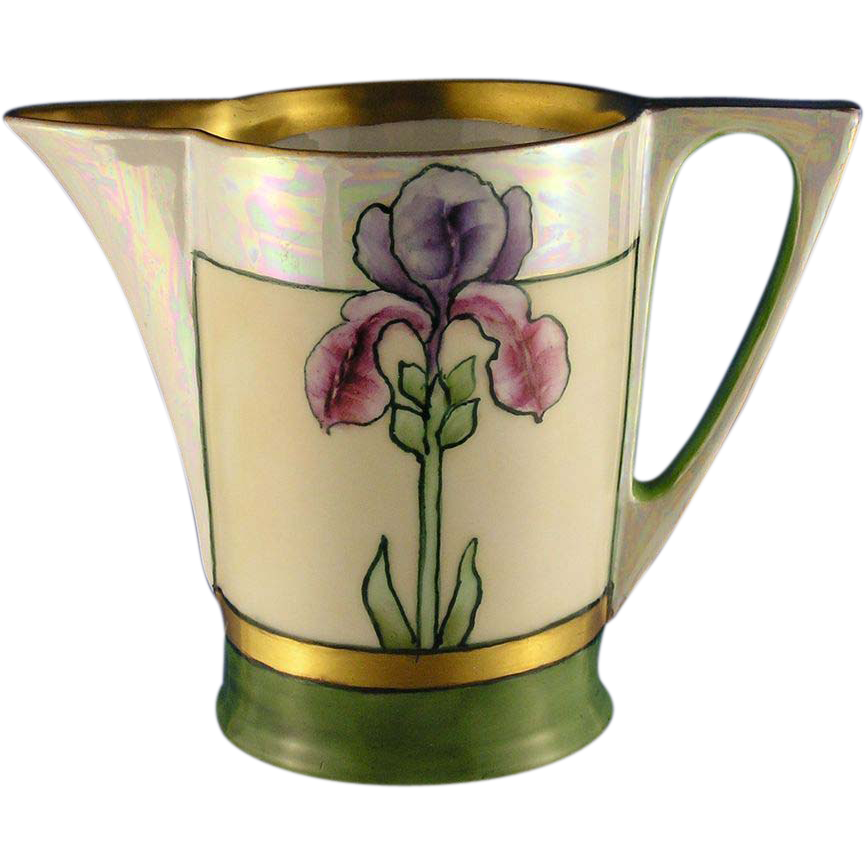 "Favorite Bavaria Arts & Crafts Iris Design Pitcher (Signed ""Cole""/c.1910-1930)"
