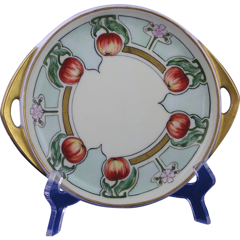 Pirkenhammer Austria Arts & Crafts Apple Motif Handled Serving Plate/Dish (c.1910-1918)