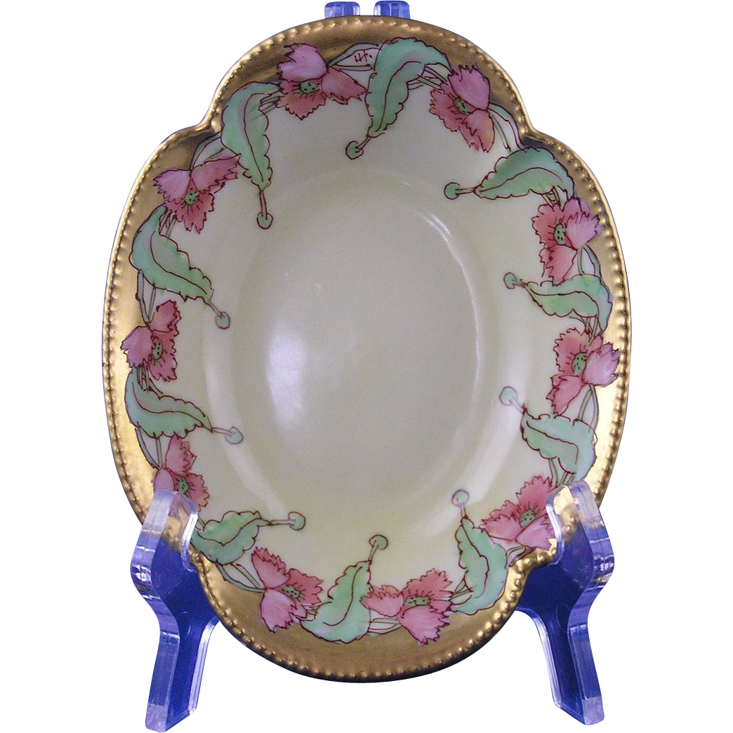 "Haviland Limoges Pickard Studios Poppy Design Bowl (Signed ""HT""/c.1903-1905)"